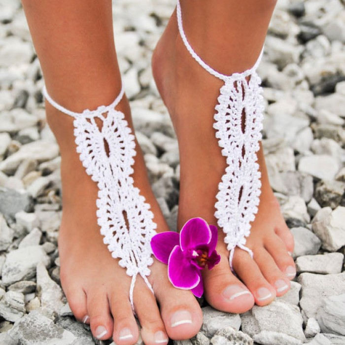 Crocheted Infinity Barefoot Sandal Knitted Foot Jewelry Handmade Anklet