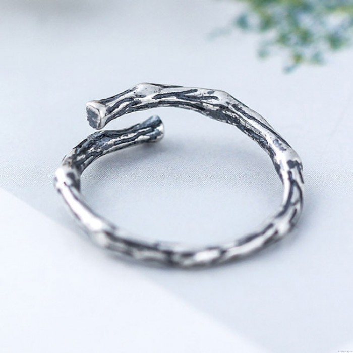 Vintage Simple Branch Silver Rings Retro Branch Open Ring
