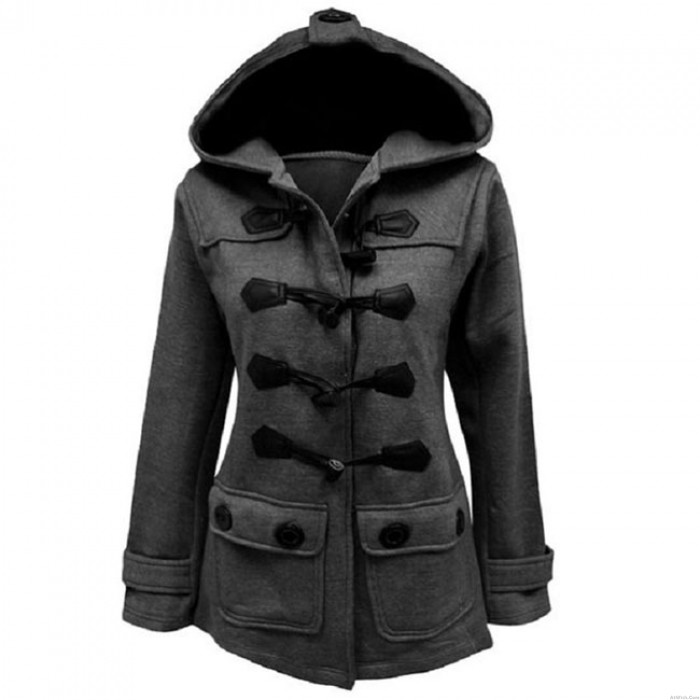 Horn Button Wool Hooded Silm Coat Trench Women's Fall Winter Long-style Coat