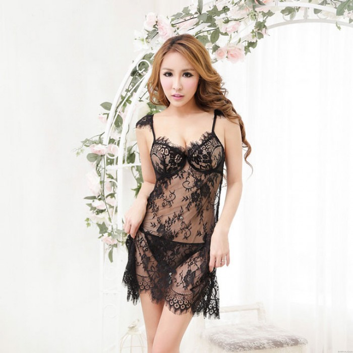 Sexy Floral Lace Underwear Gather Bowknow Halter G-String Set  Hot Black Lingerie
