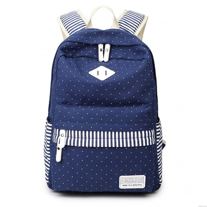 Cute Polka Dot Stripe College Canvas Backpack Leisure Travel Outdoor Sports Women Backpack
