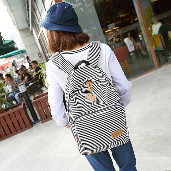 Summer Blue Striped Leisure Canvas College Backpack