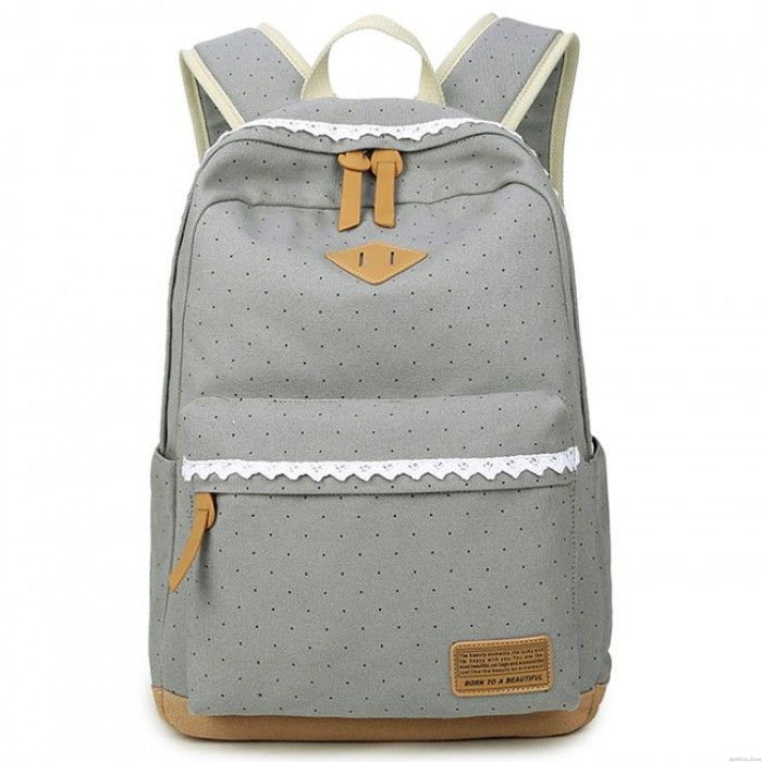 Cute Lace Large Capacity Dot Travel Wave Point Girl's College Canvas Backpack