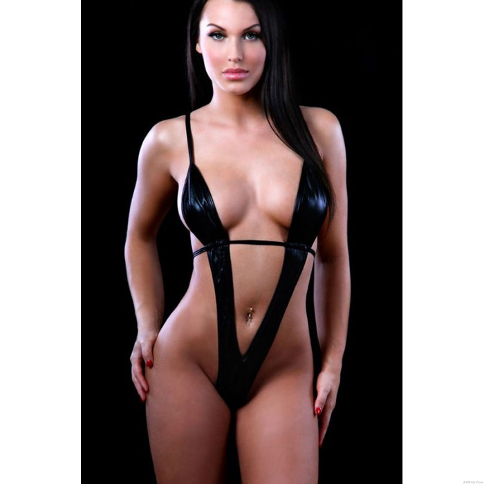Leather Cosplay Deep V Three Point Sexy Lingerie Sleepwear Lingerie Set