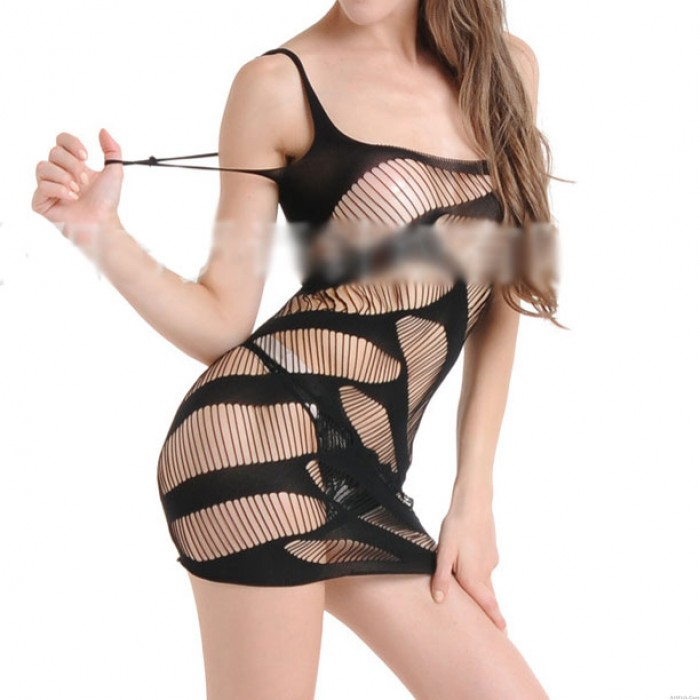 Sexy See Through Hollowed-out Straps Women's Stripe Dress Lingerie