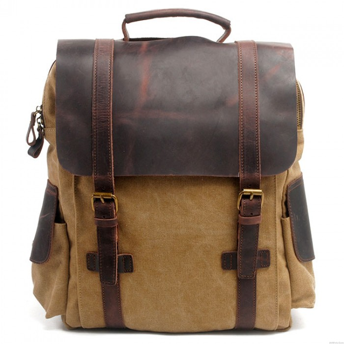 Unique Cowhide Leather Splicing Thick Canvas School Backpack Retro Handmade Outdoor Large Rucksack