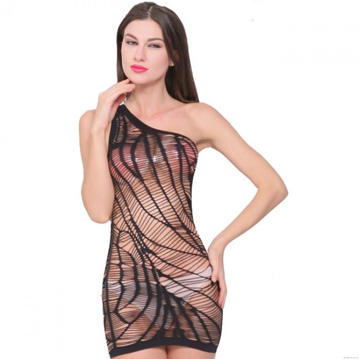 Sexy Chemise See Through Fishnet One Shoulder Women's Lingerie