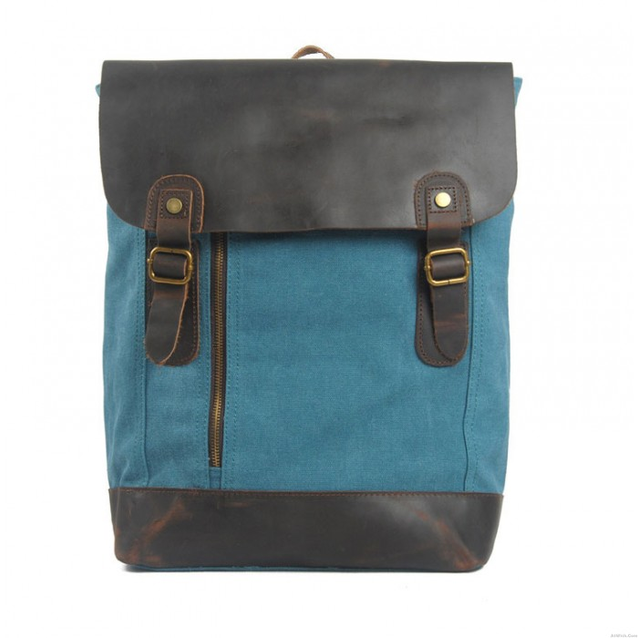 Unique Leather With Canvas Middle zipper Backpack
