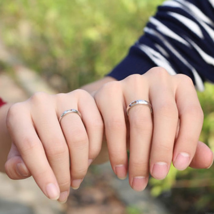 Romantic Valentine's gift Silver Lover Hollow Feet Adjustable Couple Rings
