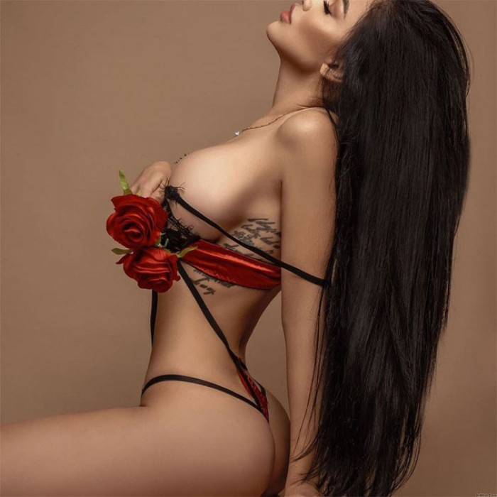 Sexy Bra Set Red Splice Leaves Black Lace Women Intimate Lingerie