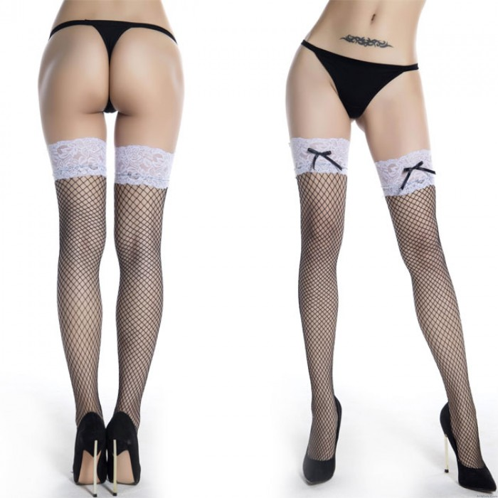Sexy Tube Fish Net Stockings Black Bow White Lace Bow Long High Socks Lingerie
