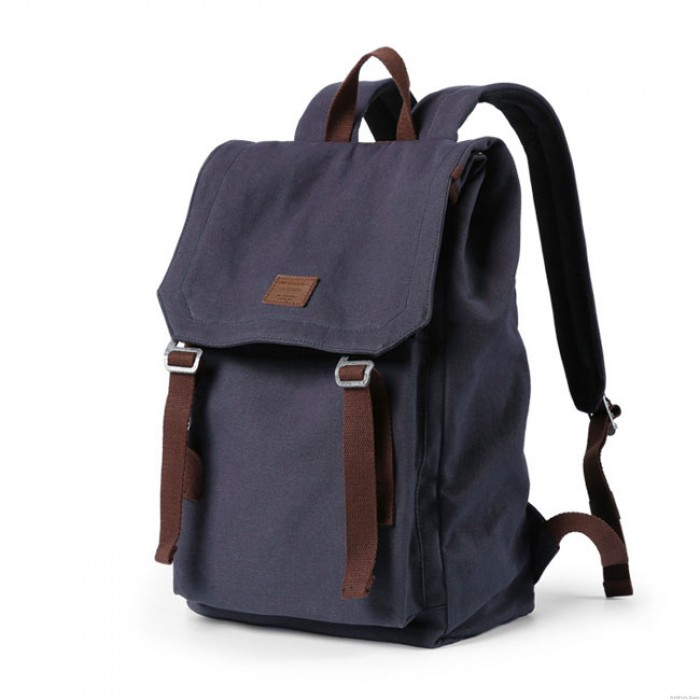 Retro Double Strap School Bag Man Travel Rucksack Canvas Large Backpack