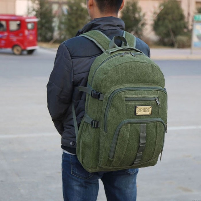 Retro Large Travel Sport Rucksack 50 Liters Outdoor Climbing Camping Canvas Backpack