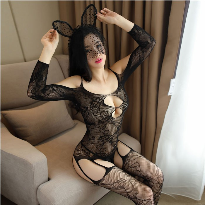 Sexy Black Hollow Jacquard Siamese Mesh Embroidered Flowers Open Stocking Conjoined Lingerie