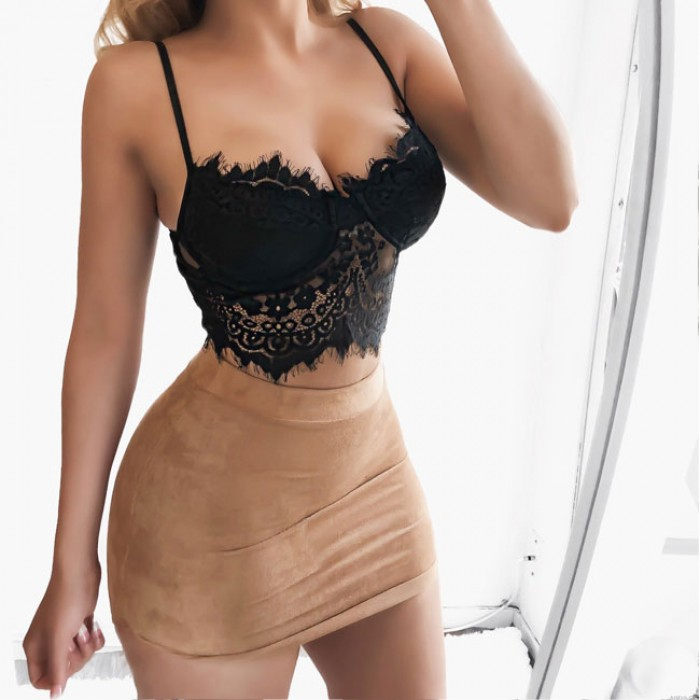 Sexy Hollow Lace Gathers Temptation Camisoles Bras Sling Intimate Lingerie