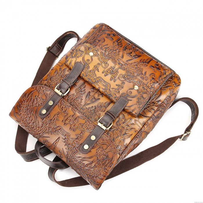 Retro Brown 3D Carved Real Leather Double Buckle Original Large School Backpack