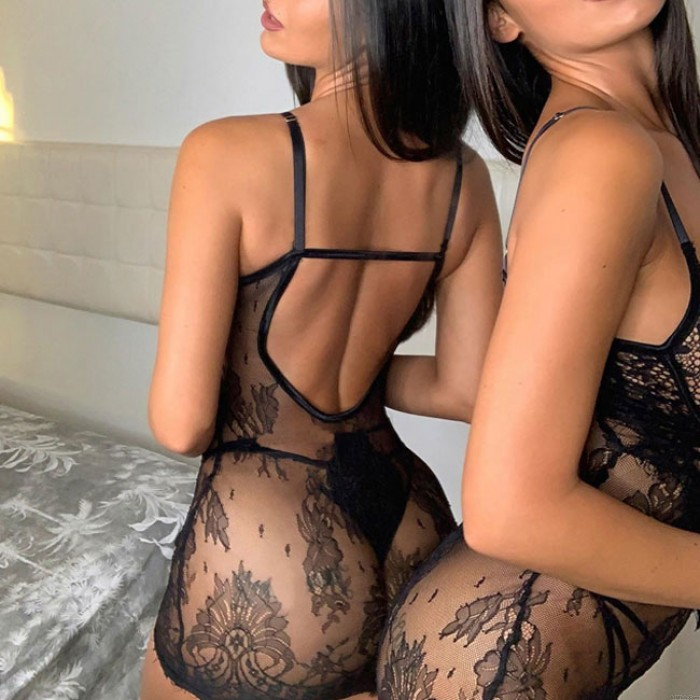 Sexy Black Lace Nightgown Include Pants Mesh Nightdress Women Intimate Lingerie