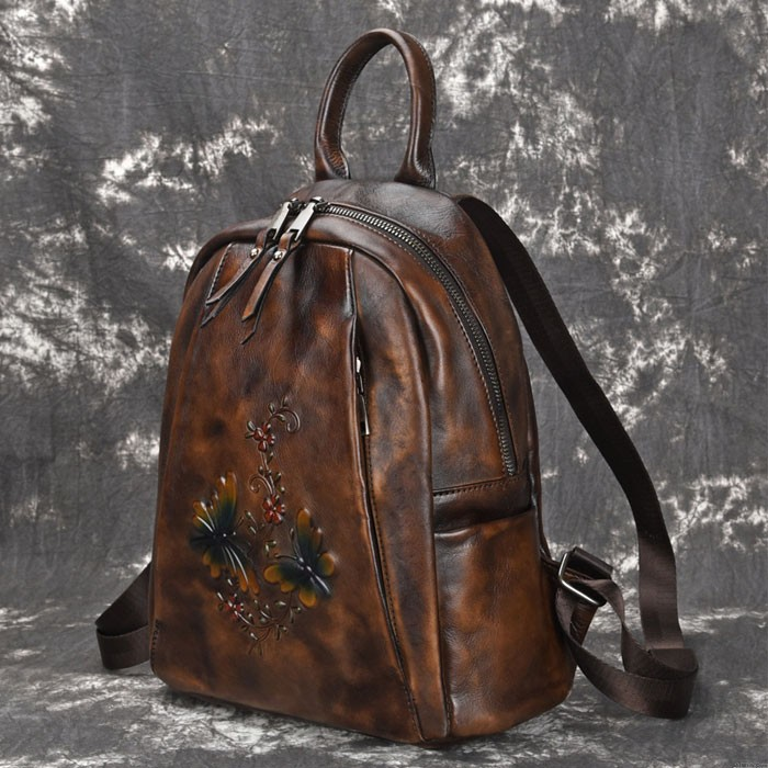 Original Dragonfly Branches Flowers Retro Handmade Thick Leather Travel Backpack