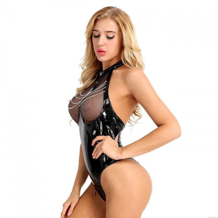 Sexy Patent Leather Open Chest Hollow Fishnet Conjoined Women Lingerie