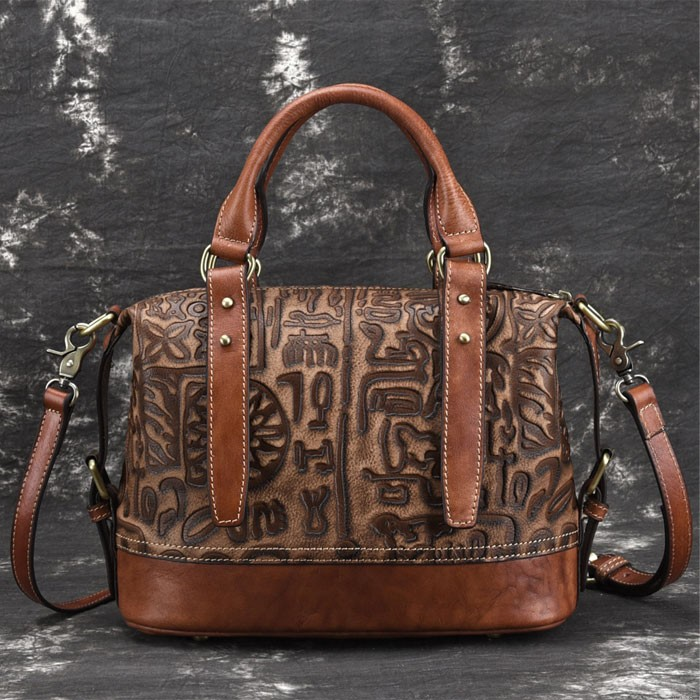Retro Bark Folds Multi-function Handbag Cowhide Handmade Shoulder Bag