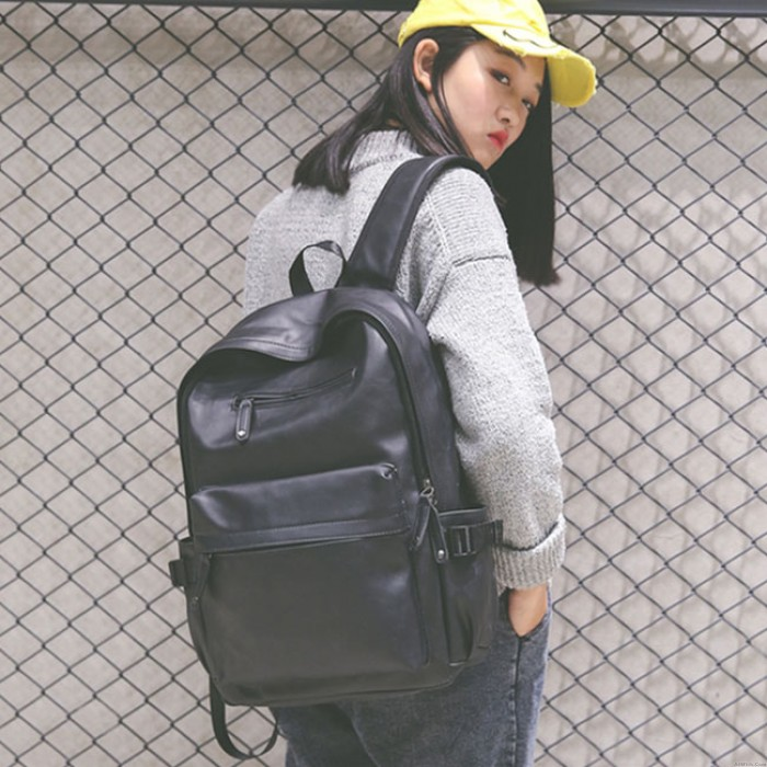 Retro Double Zippers School Student Backpack Large Soft PU College Backpack