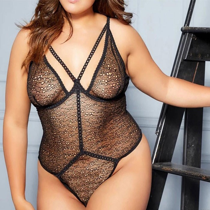 Sexy Hollow Perspective One Piece Underwear Large Size Conjoined Lingerie