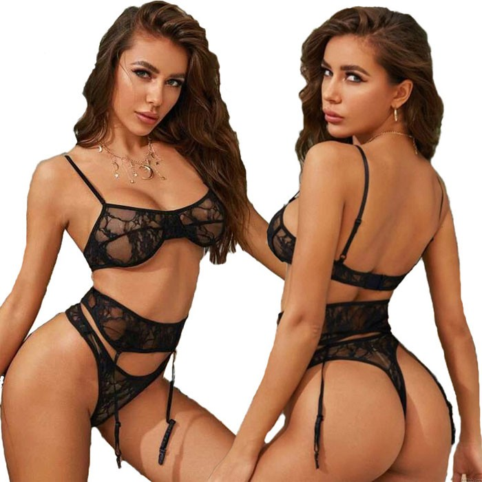 Sexy Black Lace Perspective Bra Set Underwear Garter Belt Sling Women's Lingerie