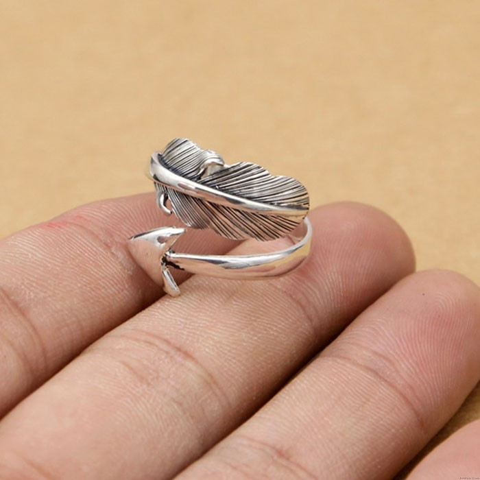 Vintage Feather Arrow Indian Style Feather Silver Open Rings