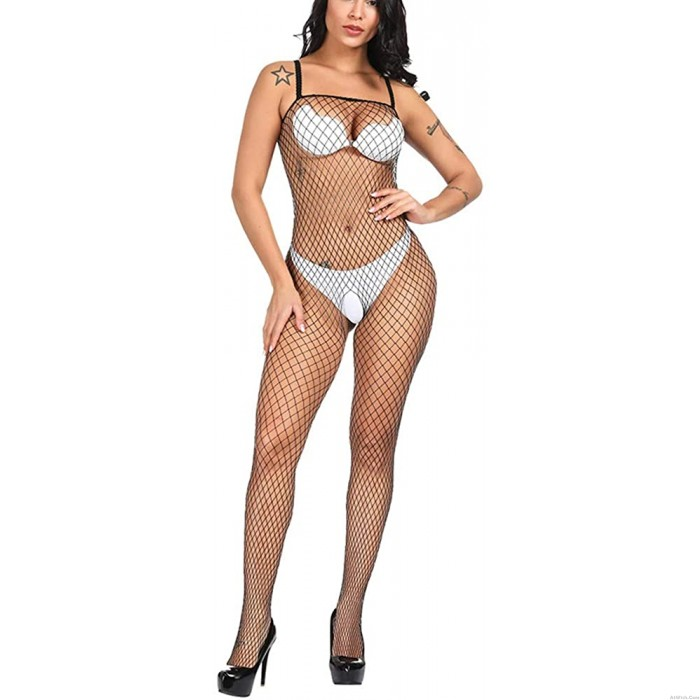 Sexy Crotchless Sleeveless Hollow Mesh One-Piece Woman Lingerie Bodysuit Pantyhose Lingerie Hot Fishnet Bodystocking