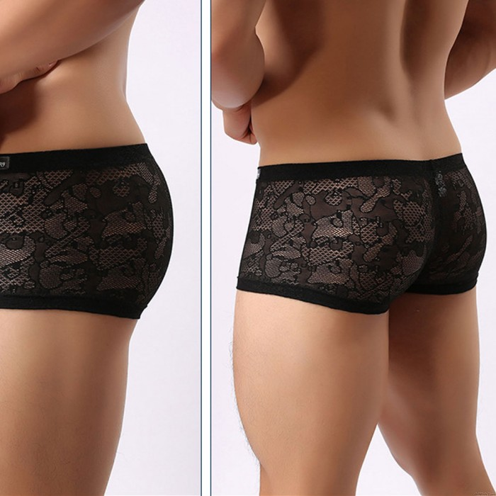 Sexy Low Rise Pouch Trunks Shorts Underwear Men's Lingerie Black Sissy Lace See Through Boxer Briefs