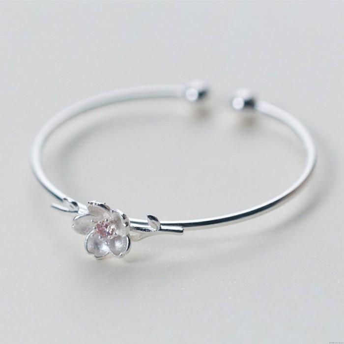 Fashion Silver Flower Cherry Open Bracelet Jewelry Gift For Her Adjustable Bangle