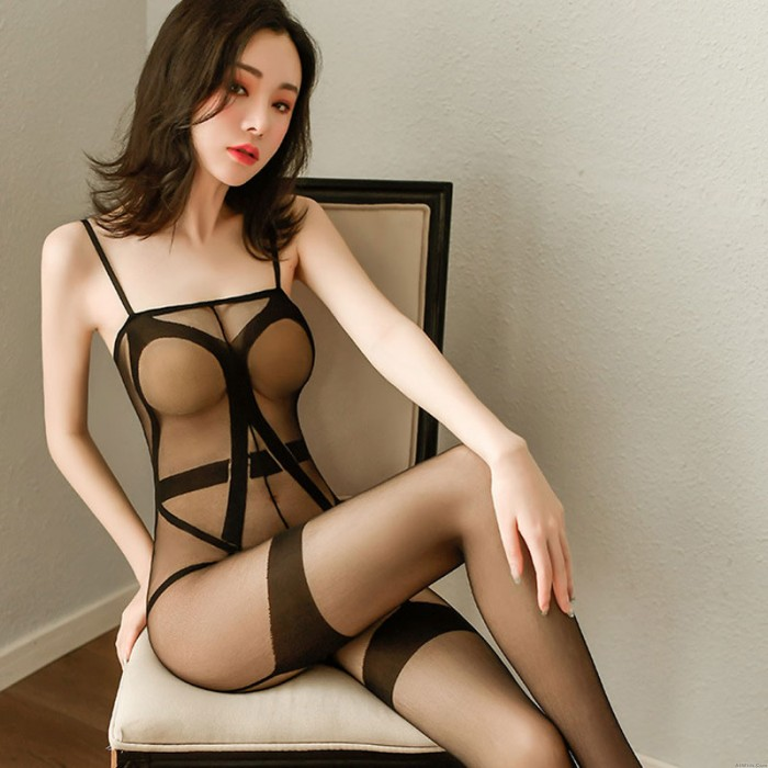 Sexy Transparent Sleeveless Crotchless Bodysuit Teddy Bodystocking  Strappy Sheer Mesh Women's Lingerie