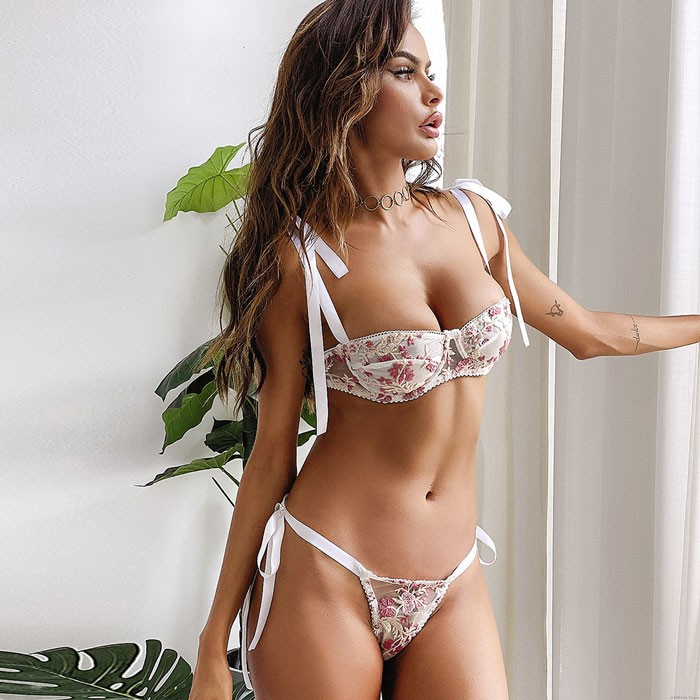 Sexy See-through Lace Mesh Pink Flower Embroidery Bra Set Intimate Teenage Lingerie
