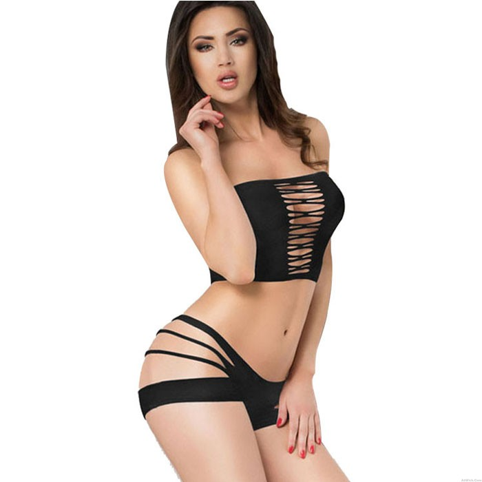 Sexy Black Hot Hollow Bra Set Tube Top Spicy Teen Lingerie