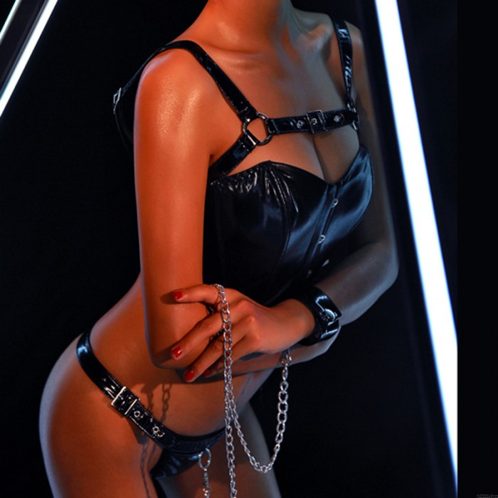 Sexy Teddy Lingerie For Women Black Wild Cowgirl Chain Patent Leather Game Set Bodysuit Lingerie