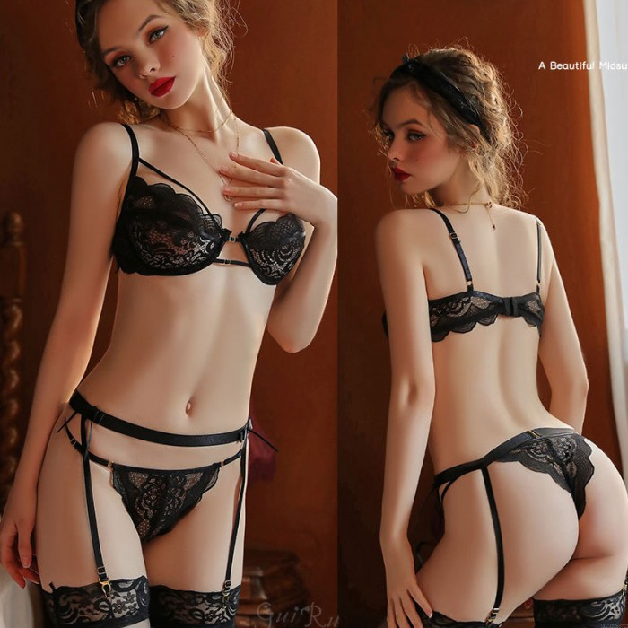 Sexy Deep V Bra And Panty Lingerie Set With Garter Belt Bodydoll See Through Lace Women's Nightwear Outfit Lingerie