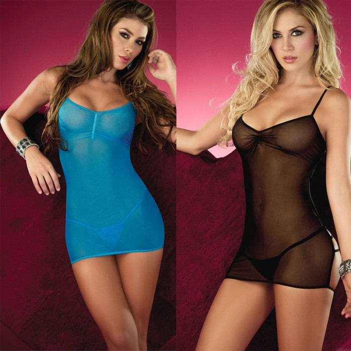 Sexy Thin Mesh Perspective Backless Chemise Babydoll Lingerie For Women