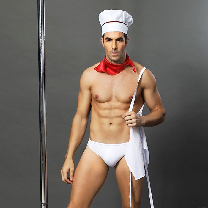 Sexy Male Chef Nightclub Bar Show Costumes Cook Cosplay Men's Lingerie