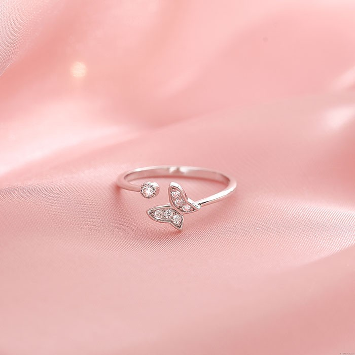 Unique Double Layer Butterfly Hollow Diamond Open Silver Girls Rings