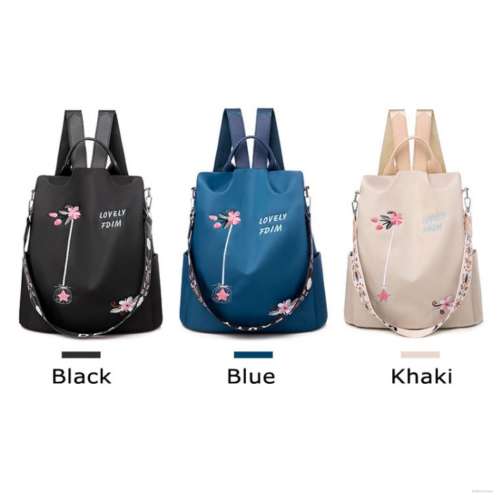 Unique Lotus Flower Embroidery Oxford Cloth Waterproof Shopping Multifunction Shoulder Bag Women's Backpack