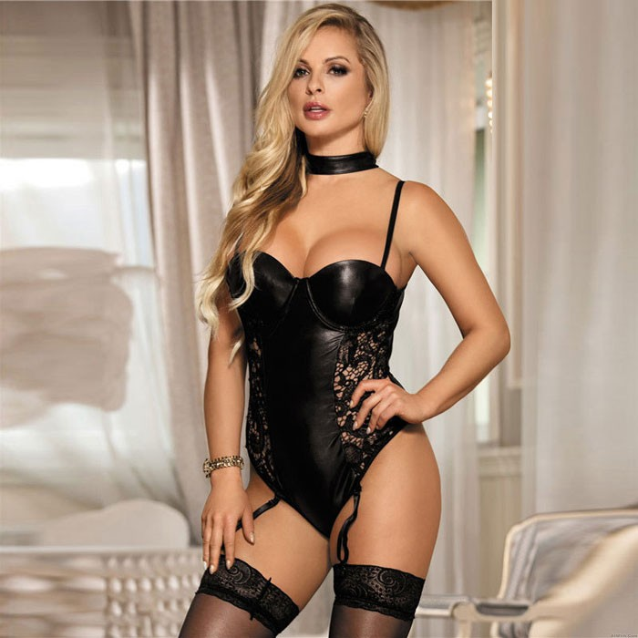 Sexy Bodysuit For Women Black Lace PU Stitching Hollow Mesh Tight Garter Belt Imitation Leather Teddy One Piece Lingerie