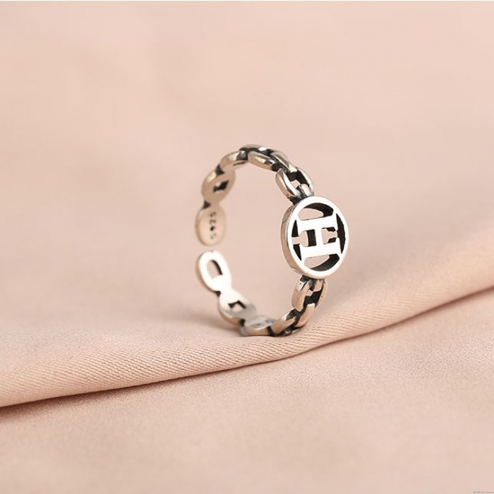 Unique Hollow Letter H Silver Jewelry For Girl Retro Women's Opening Rings