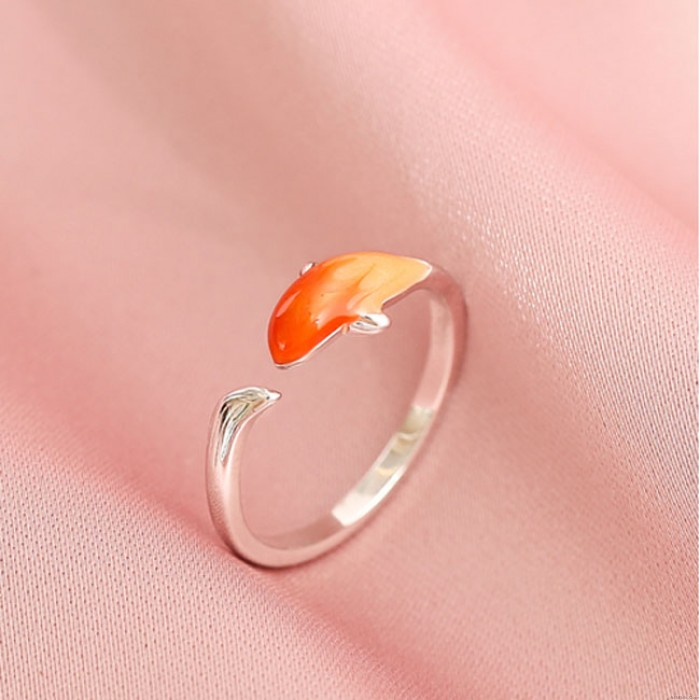 Cute Fish Dolphin Open Enamel Silver Ring Animal Jewelry Gift Original Ring