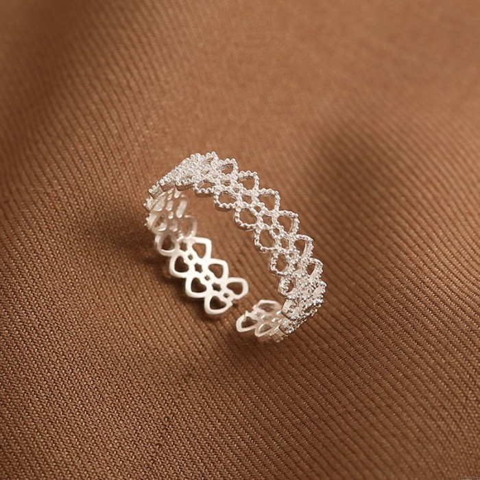 Luxury Lace Exquisite Hollow Love Heart Romantic Gift Open Silver Women's Ring
