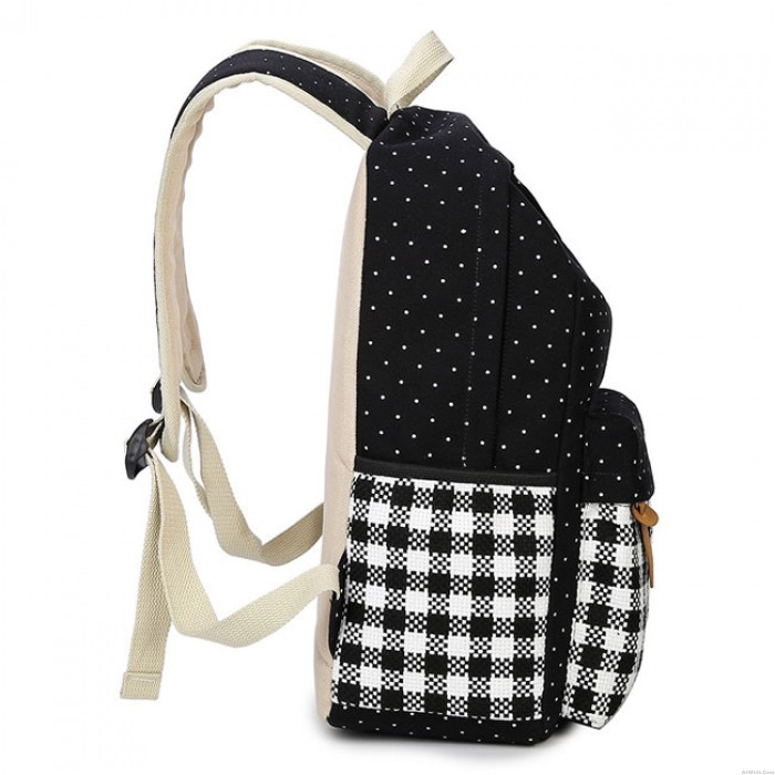 Fresh Girl's Canvas Wave Point Splicing Black White Plaid Large College Travel Backpack