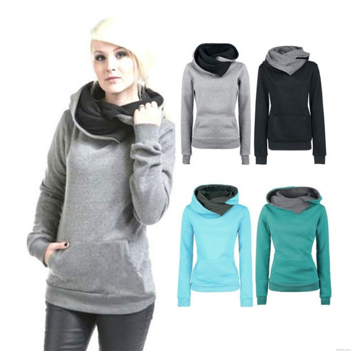 Fashion Hooded Pure Color Long Section Sweater