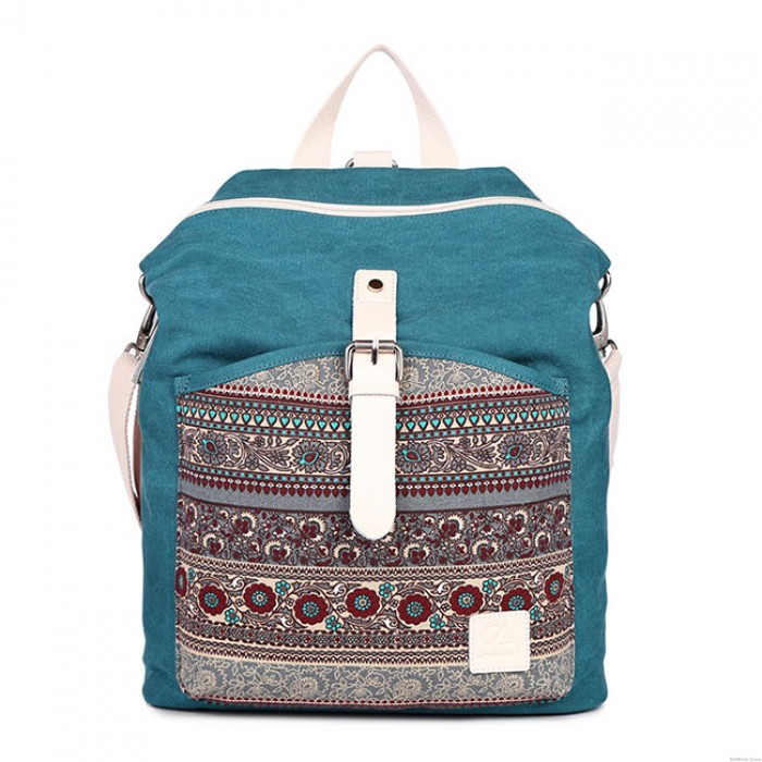 Folk Totem Women Rucksack National School Bag Ladies Canvas Backpack