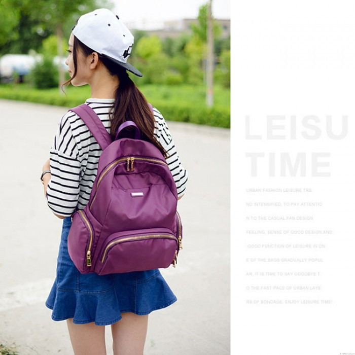 Unique Girl's Waterproof Whole Color Oxford Cloth Zipper Large Capacity School Backpack Travel Backpack