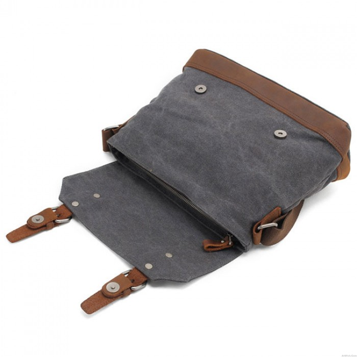 Retro Splicing Leather Belt Large Thick Canvas Flap Handbag Shoulder Bag