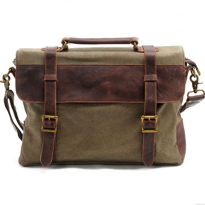 Retro Real Thick Leather Large Square Splicing Double Buton Mental Lock Canvas Shoulder Bag